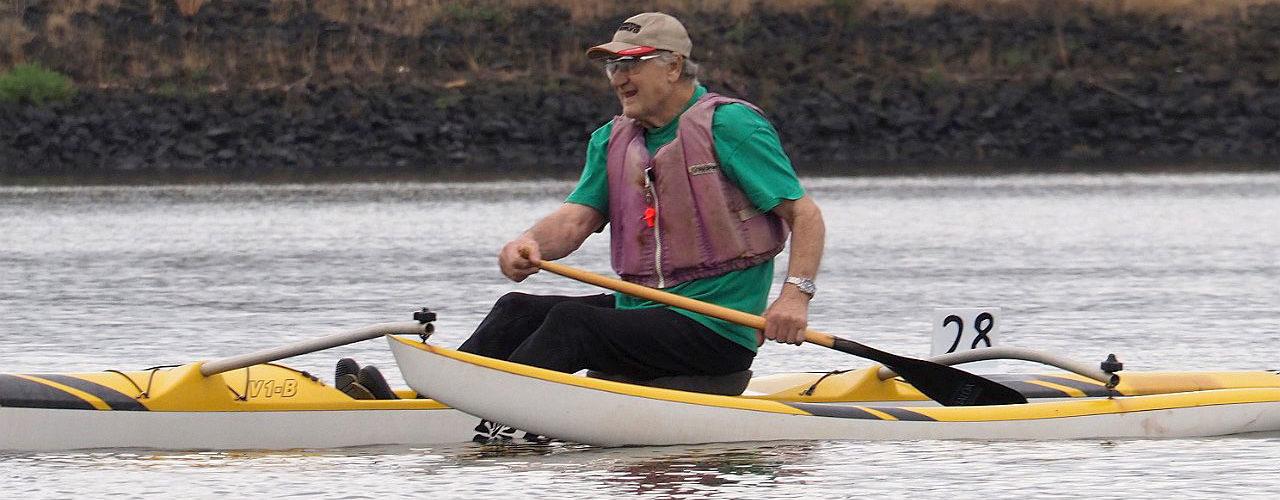 The legendary Bella paddles an OC1