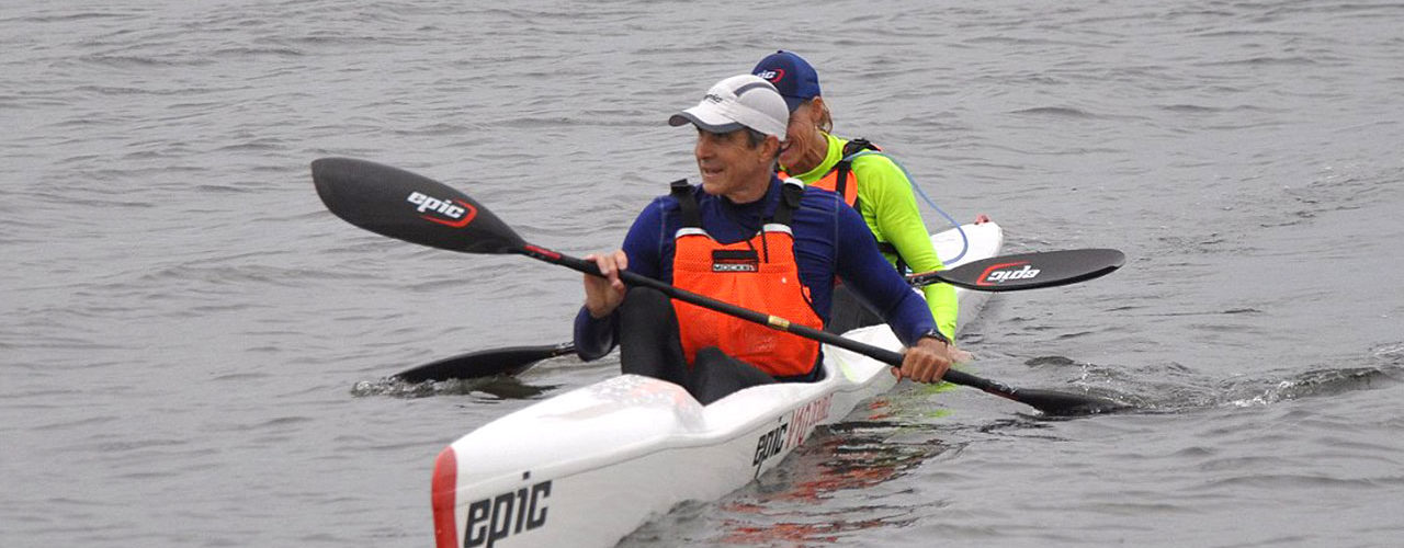 Olympic gold medalist, Greg Barton, at the finish with partner Tracy Landboe